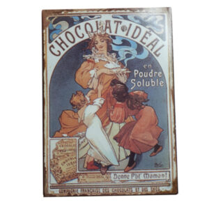 French Country Inspired Vintage Look Wall Tin Signs CHOCOLAT IDEAL New