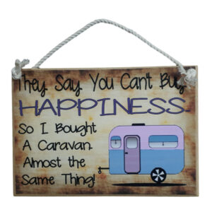Country Printed Quality Wooden Sign CARAVAN BUY HAPPINESS Plaque New