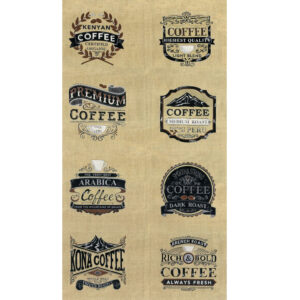 Patchwork Quilting Sewing Fabric BREW COFFEE Panel 58x110cm Material New