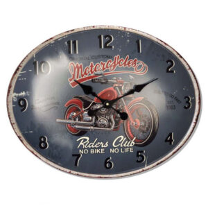 Clocks Country Vintage Wall RIDERS CLUB MOTORCYCLE OVAL Clock 39x49cm New
