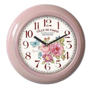 Clocks Country Vintage Inspired Wall PINK ENAMEL PARIS FLORAL Clock 29cm New