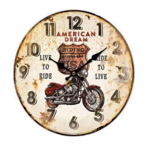 Clocks Country Vintage Inspired Wall AMERICAN DREAM MOTORBIKE Clock 34cm New