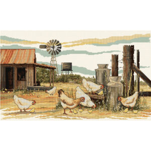 Country Threads Cross Stitch Kit CHICKENS SCRATCHING Counted X Stitch New FJ-1086