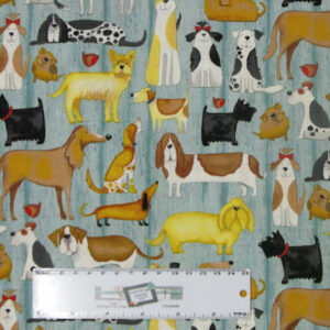 Patchwork Quilting Sewing Fabric WOOF DOGS Allover Material 50x55cm FQ New