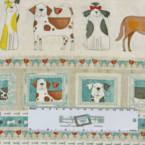 Patchwork Quilting Sewing Fabric WOOF DOGS Border Material 50x55cm FQ New