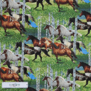 Patchwork Quilting Sewing Fabric HORSES IN THE WOODS Allover 50x55cm FQ New
