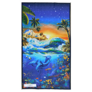 Patchwork Quilting Sewing Fabric TROPICAL DOLPHINS Panel 60x110cm Material New