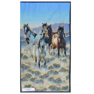 Patchwork Quilting Sewing Fabric MOUNTAIN HORSES Panel 60X110cm New