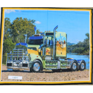 Patchwork Quilting Sewing Fabric BIG RIGS RIVER TRUCK Panel 90x110cm Material New