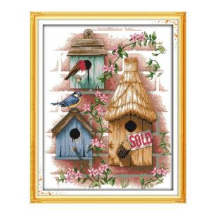 Cross Stitch Kit LOG CABIN X Stitch Joy Sunday Designs Incl Threads 34x43cm New