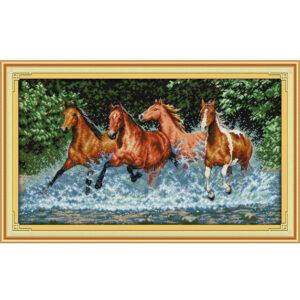 Cross Stitch Kit HORSES X Stitch Joy Sunday Designs Incl Threads 60 x 36cm New