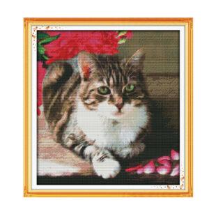 Cross Stitch Kit LOVELY CAT X Stitch Joy Sunday Designs Incl Threads New