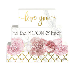 French Country Inspired Wooden Set of Blocks BLUSH CRUSH LOVE YOU TO MOON Sign New