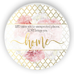 French Country Wooden Round Print BLUSH CRUSH LOVE BRINGS YOU HOME Sign 48cm New