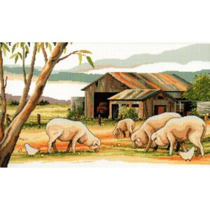 Country Threads Cross Stitch Kit SHEEP SHED Counted X Stitch New FJ-1083