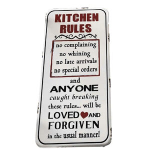 Country Tin Sign Vintage Inspired Enamel Wall Art KITCHEN RULES Retro Plaque New