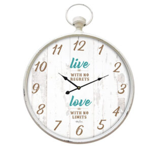Clocks Country Vintage Inspired Wall Large LIVE NO REGRETS Clock with Glass New