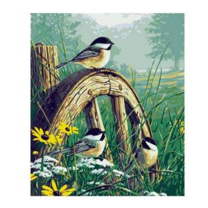 5D Diamond Painting Full Image Square Drills BIRDS ON CART WHEEL 30x45cm New