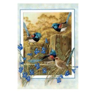 5D Diamond Painting Full Image Square Drills BLUE WRENS 25 x 35cm New