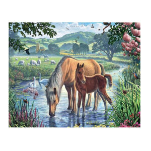 5D Diamond Painting Full Image Square Drills HORSE AND FOAL 50x40cm New