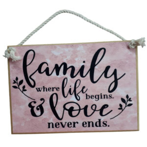 Country Printed Quality Wooden Sign with Hanger LOVE NEVER ENDS Plaque New
