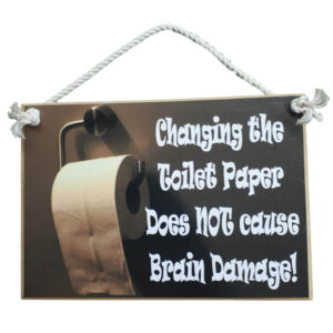 Country Printed Quality Wooden Sign Changing Toilet Roll Funny Plaque New