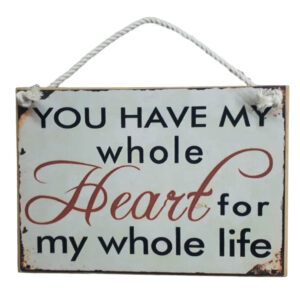 Country Inspired Wooden Sign With Rope Hanger My Whole Heart New Plaque
