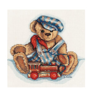 DMC Cross Stitch Kit CASEY and TRAIN TEDDY BEAR Counted X Stitch New 581209