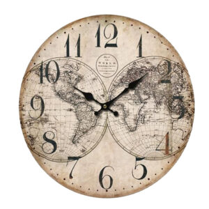Clock French Country Vintage Wall Hanging WORLD MAP Clocks Time 34cm New