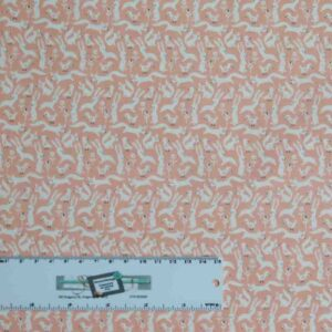Patchwork Quilting Sewing Fabric LITTLE DEER PINK BUNNY 50x55cm FQ New