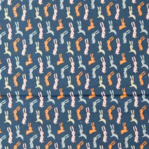 Patchwork Quilting Sewing Fabric LITTLE DEER NAVY BUNNYS 50x55cm FQ New