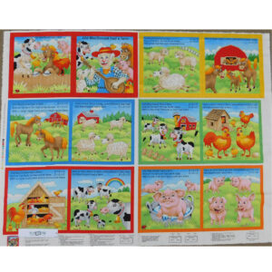 Patchwork Quilting Sewing Fabric McDONALDS FARM BOOK Panel 90x110cm New