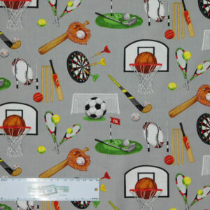 Patchwork Quilting Sewing Fabric SPORTS DAY 50x55cm FQ New Material