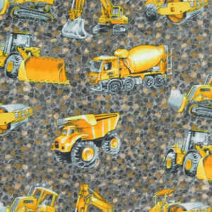 Patchwork Quilting Sewing Fabric TRUCKS and DIGGERS 50x55cm FQ New