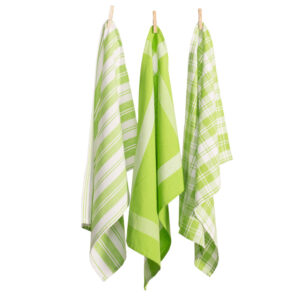Country Vintage Modern Tea Towels Cotton Dish Cloths Set 3 LIME GREEN New