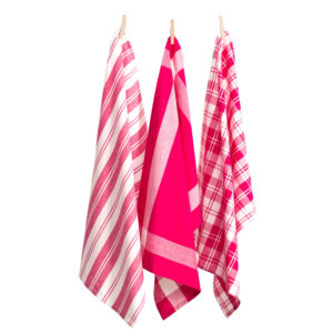 Country Vintage Modern Tea Towels Cotton Dish Cloths Set 3 HOT PINK New