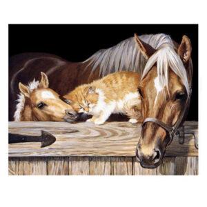 5D Diamond Painting Full Image Square Drills HORSE, CAT, FOAL 30x45cm New