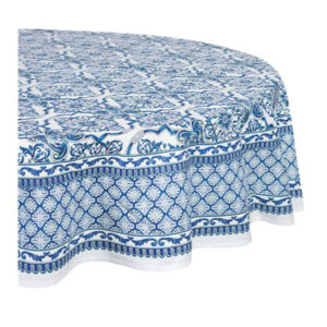French Country Kitchen Table Cloth LAPIS Tablecloth ROUND Cotton 180cm New