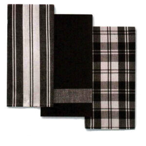 Country Vintage Modern Tea Towels Cotton Dish Cloths Set 3 BLACK New