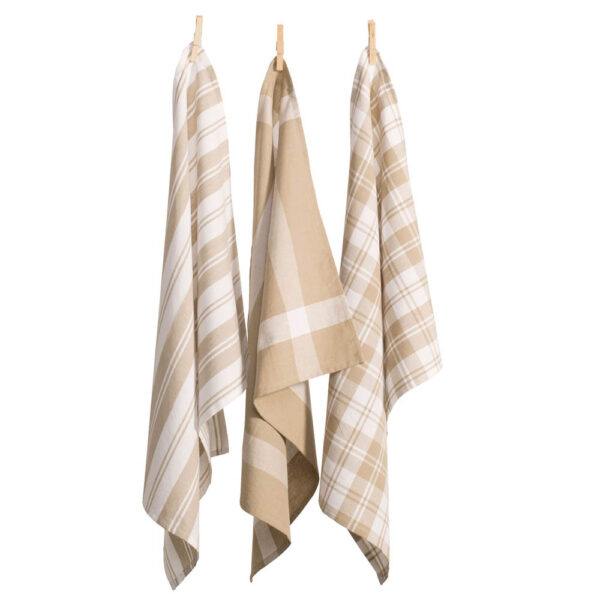 Country Vintage Modern Tea Towels Cotton Dish Cloths Set 3 TAUPE New