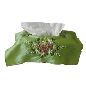 French Country Embroidered Satin Green with Flowers Tissue Box Cover New