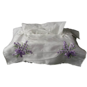 French Country Embroidered Satin White with Lavender Tissue Box Cover New