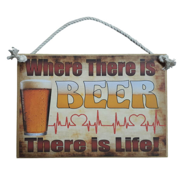 Country Printed Quality Wooden Sign BEER IS LIFE Funny Plaque New