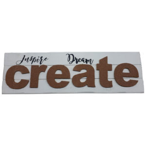 French Country Wooden WHITEWASH Sign INSPIRE DREAM CREATE 63x19cm New