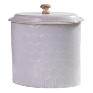 French Country Metal Enamel Retro Kitchen Canister Cream Honeycomb New