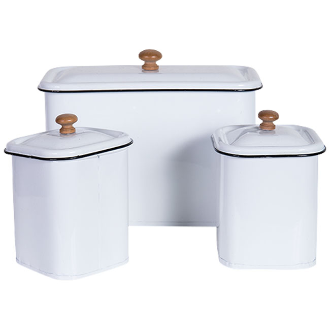 Metal Enamel Retro Kitchen Canisters