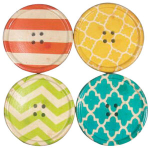 French Country Retro Inspired Kitchen Dining Resin Coasters Set of 4 Buttons New