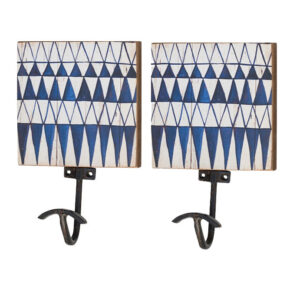 French Country Vintage Look Metal and Wood Set of 2 BLUE WHITE Single Hooks New