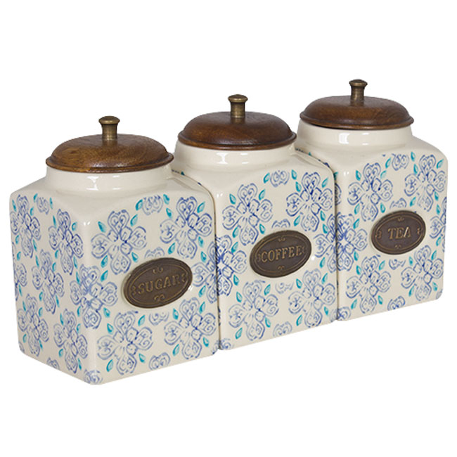 French Country Kitchen Canisters TEA, COFFEE, SUGAR with ...