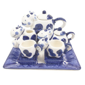 French Country Collectable Novelty MINIATURE COW TEA SET 13cm New